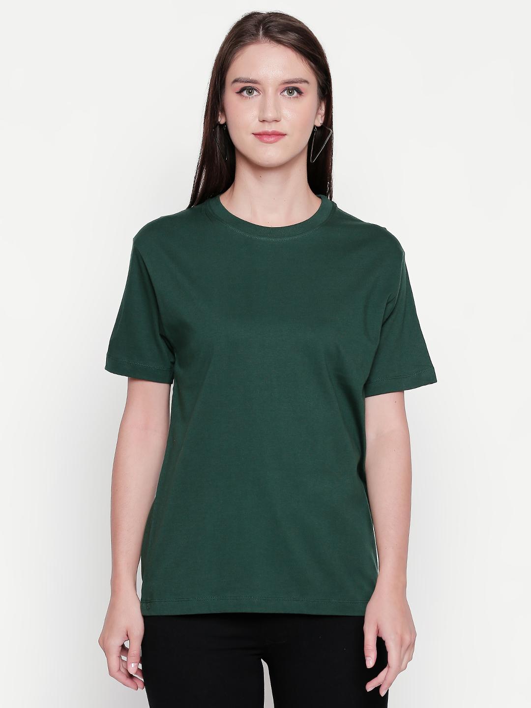 creativeideas.store | creativeideas.store Cotton Solid Round Neck Tshirt for Women Green XS | 100% Cotton Bio-washed Tshirt