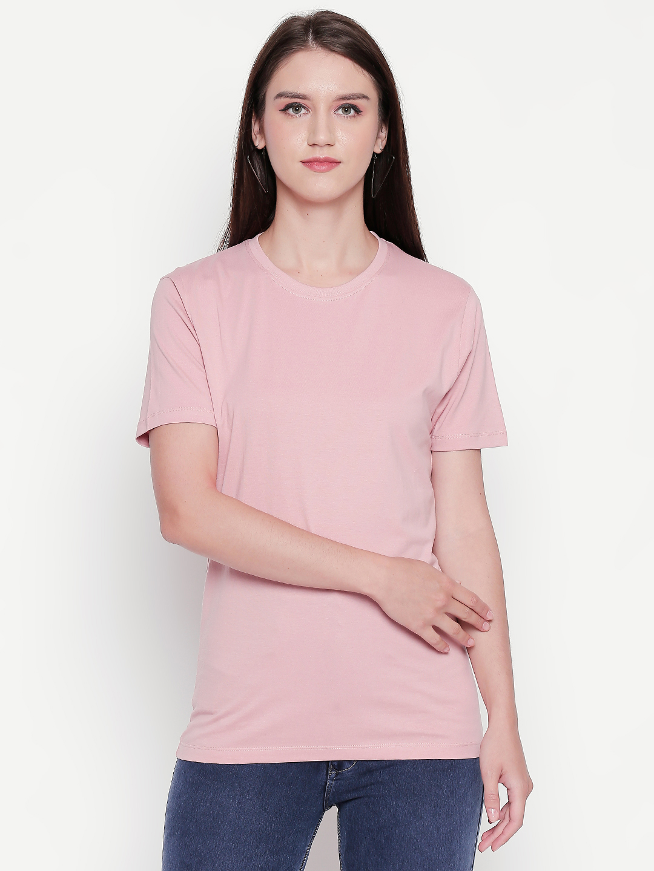creativeideas.store | creativeideas.store Cotton Solid Round Neck Tshirt for Women Pink XS | 100% Cotton Bio-washed Tshirt
