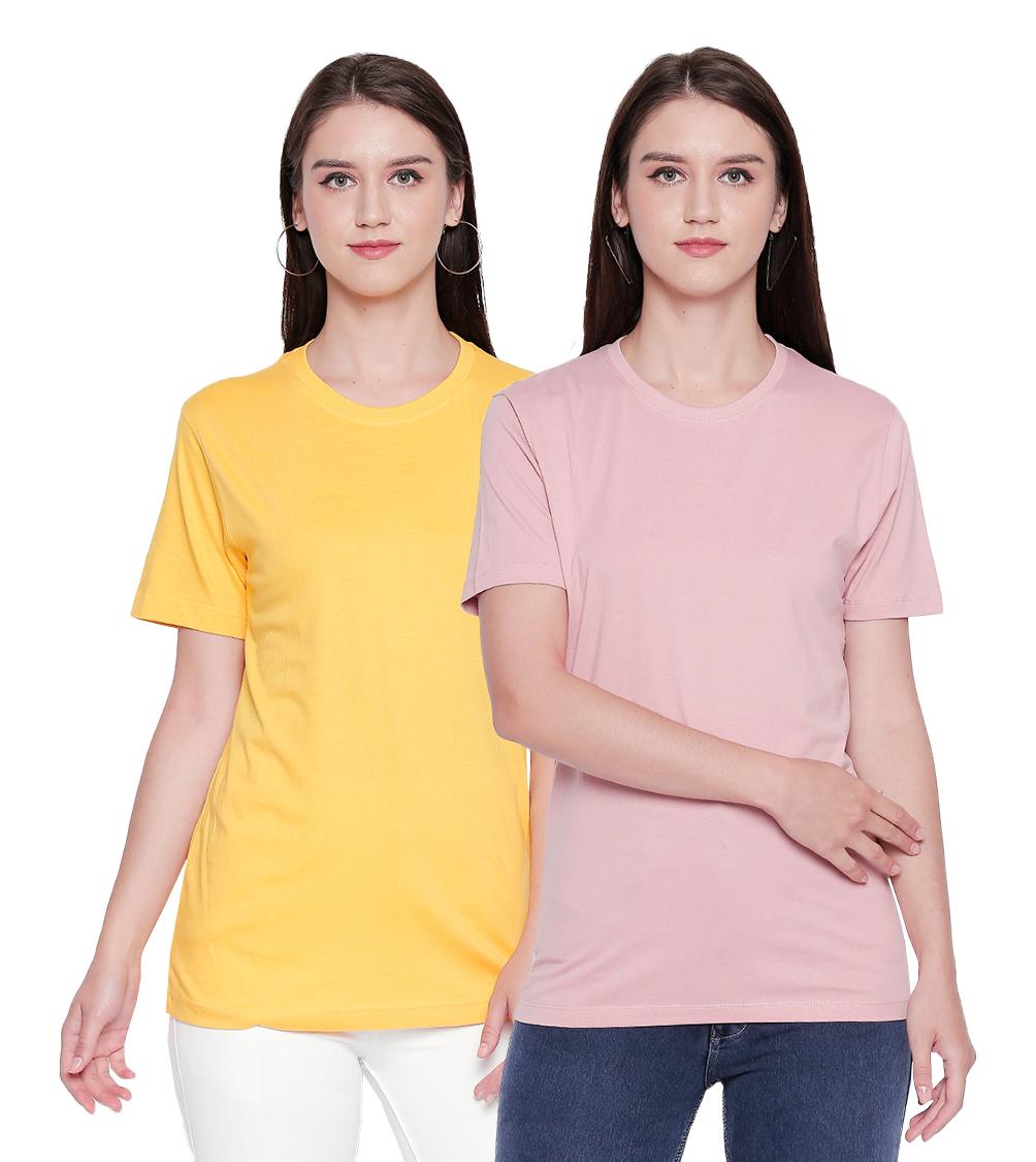 creativeideas.store | creativeideas.store Pack Of 2 Cotton Solid Round Neck Yellow and Pink Tshirt |100% Cotton Bio-washed Tshirt