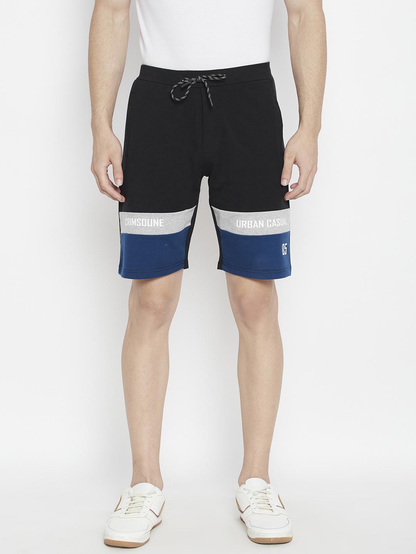 Crimsoune Club | Crimsoune Club Men's Black Colorblocked Slim Fit Lounge Shorts