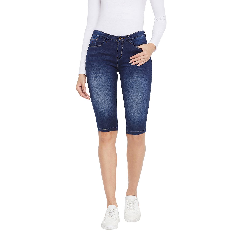 Crimsoune Club   Crimsoune Club Women's Navy Blue Solid Shorts