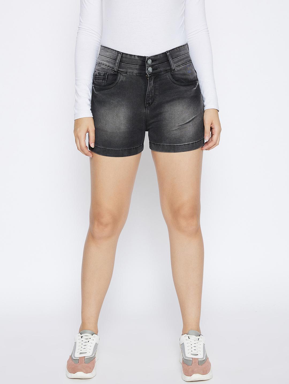 Crimsoune Club | Crimsoune Club Women's Black Solid Denim Shorts