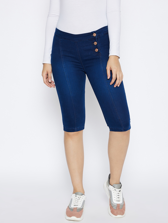Crimsoune Club   Crimsoune Club Women's Navy Blue Solid Denim Shorts