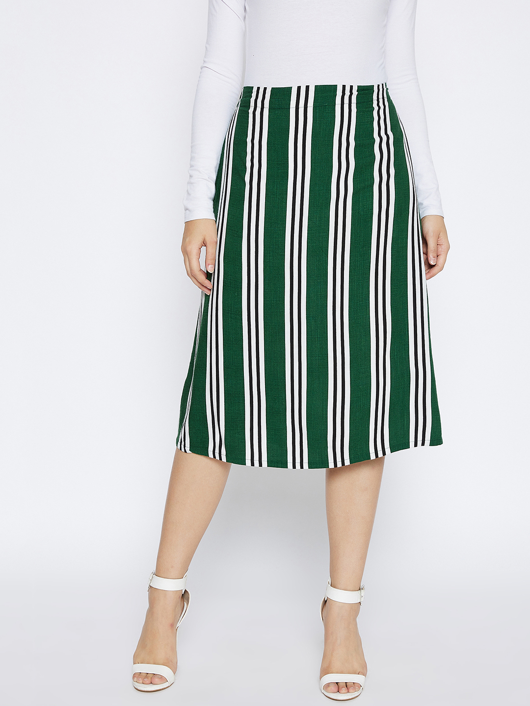 Crimsoune Club | Crimsoune Club Women's Dark Green Striped  Skirt