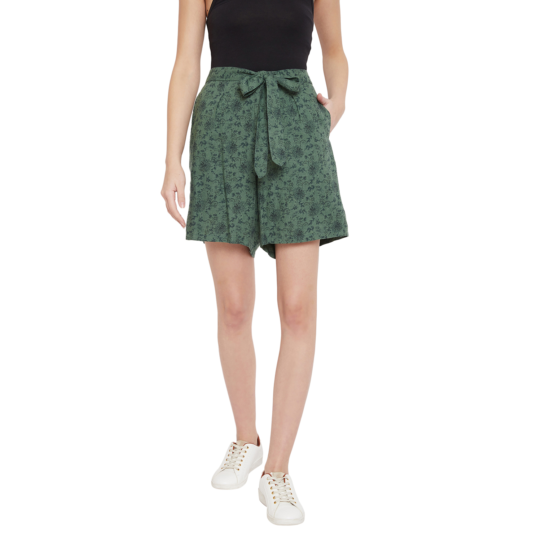 Crimsoune Club | Crimsoune Club Green Printed Womens Shorts