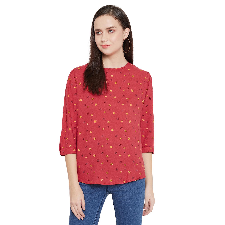 Crimsoune Club | Crimsoune Club Red Printed Womens Top
