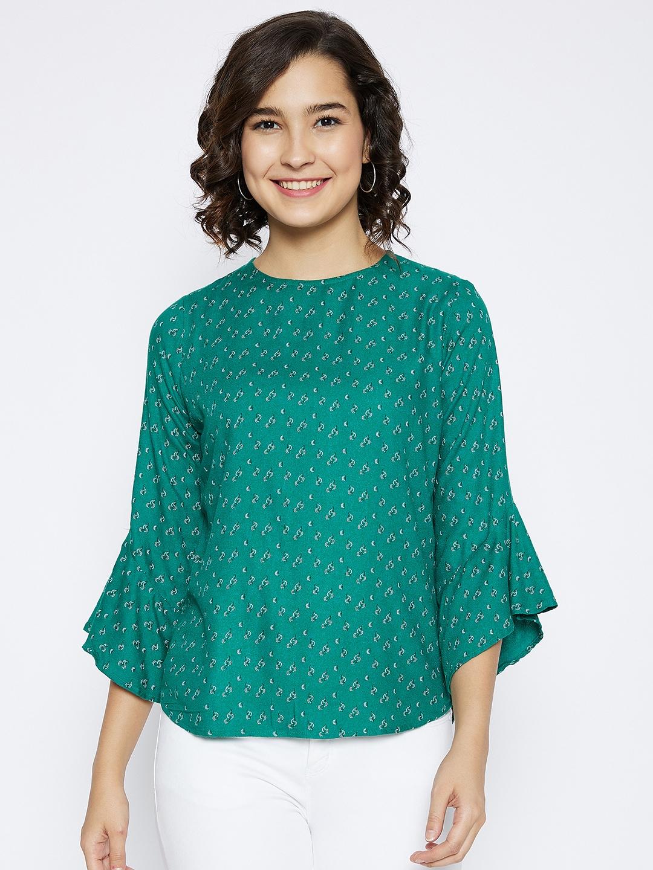 Crimsoune Club   Crimsoune Club Women's Green Printed  Top