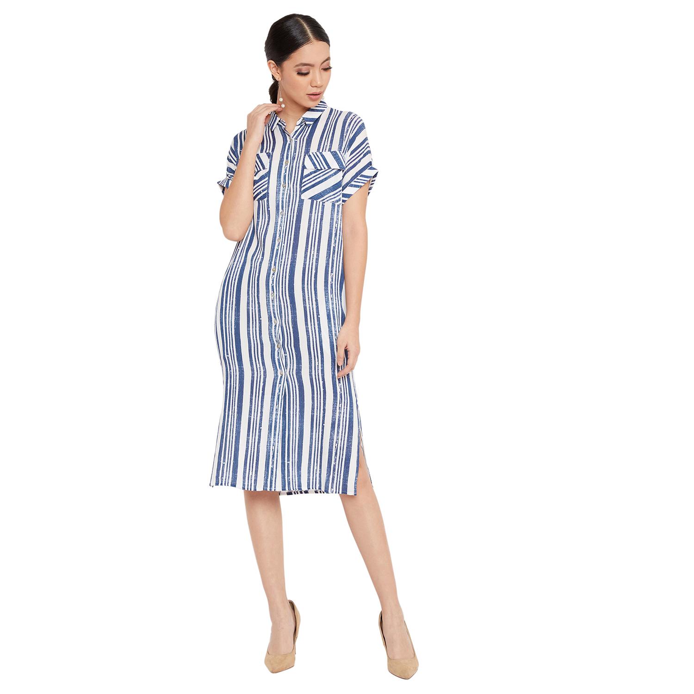 Crimsoune Club | Crimsoune Club Women's White Striped Dress