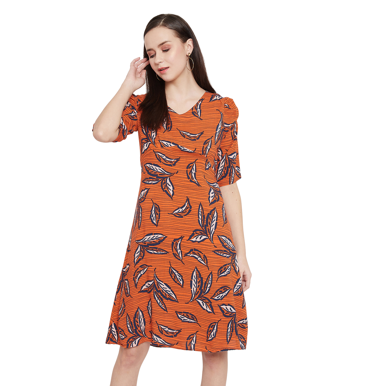 Crimsoune Club | Crimsoune Club Orange Printed Womens A-Line Dress