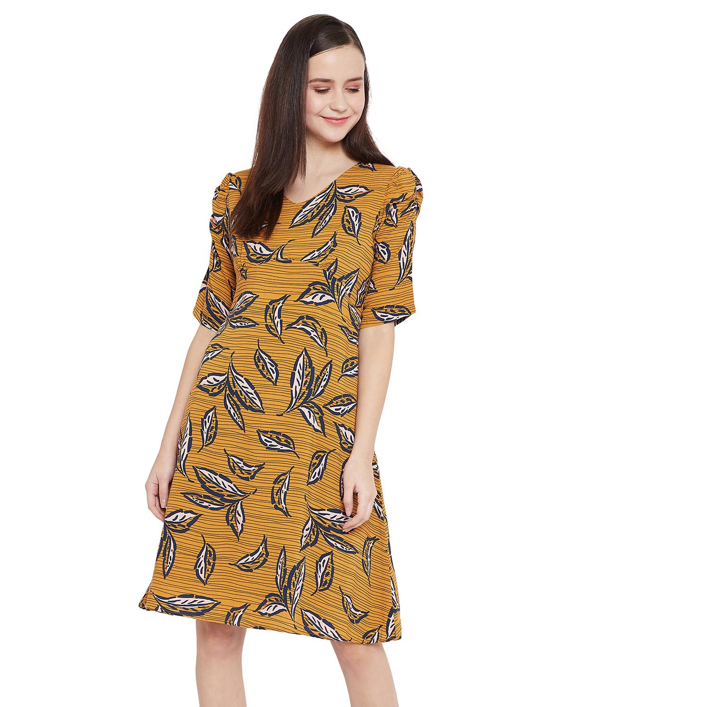 Crimsoune Club | Crimsoune Club Yellow Printed Womens A-Line Dress