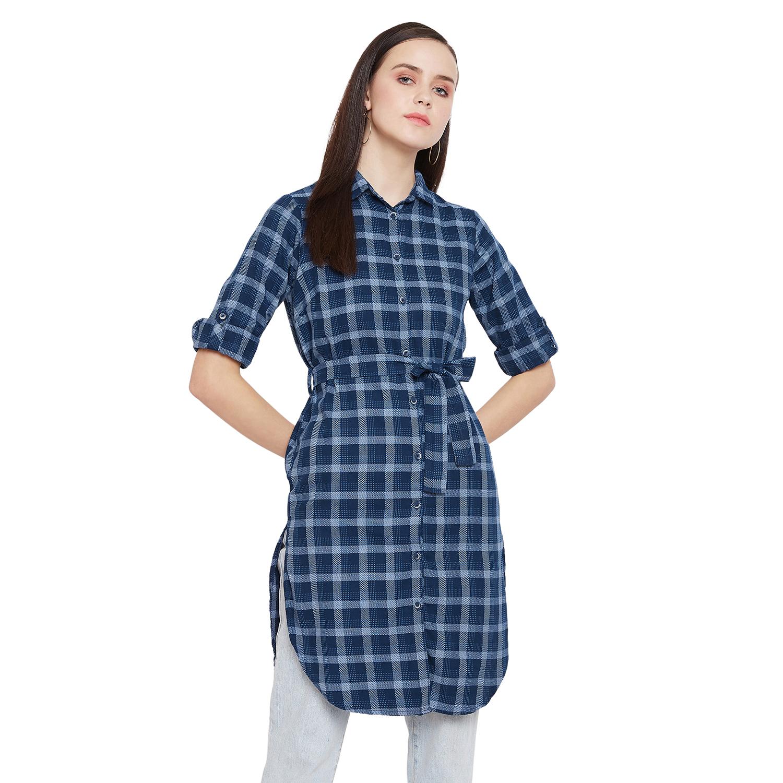 Crimsoune Club | Crimsoune Club Navy Blue Check Womens Shirt Style Tunic