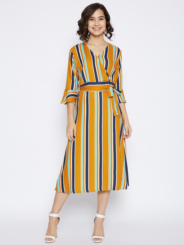 Crimsoune Club | Crimsoune Club Women's Mustard Striped Slim Fit Dress