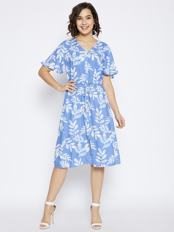 Crimsoune Club | Crimsoune Club Women's Light Blue Floral Printed Slim Fit Dress