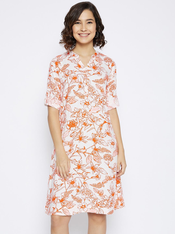 Crimsoune Club | Crimsoune Club Women's Orange Floral Printed Slim Fit Dress