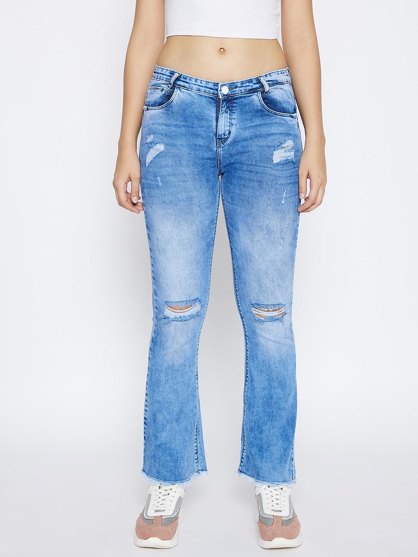 Crimsoune Club | Crimsoune Club Women's Blue Solid Bootcut Skinny Fit Jeans