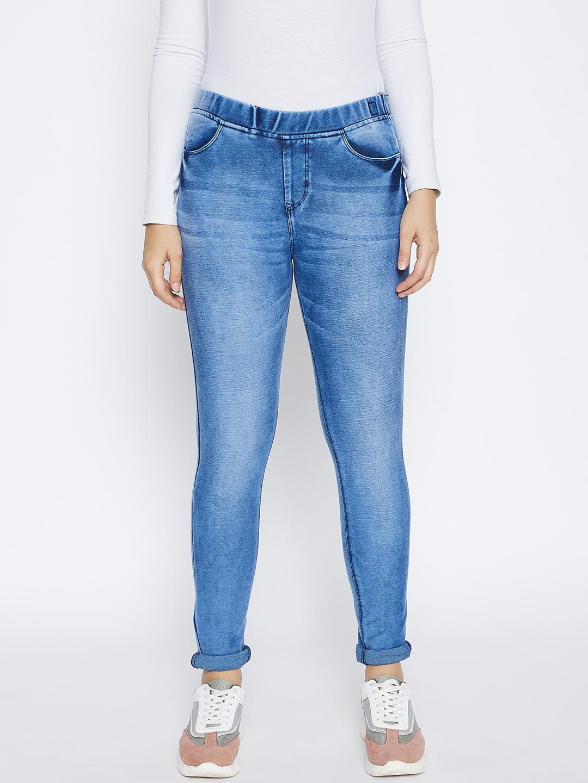 Crimsoune Club | Crimsoune Club Women's Blue Solid Skinny Fit Jeans