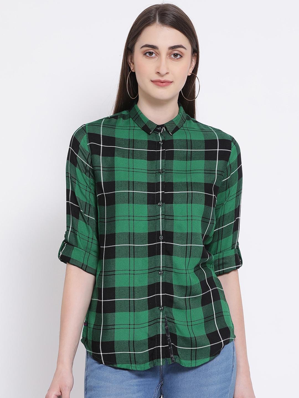Crimsoune Club | Crimsoune Club Women's Checked Green Shirt