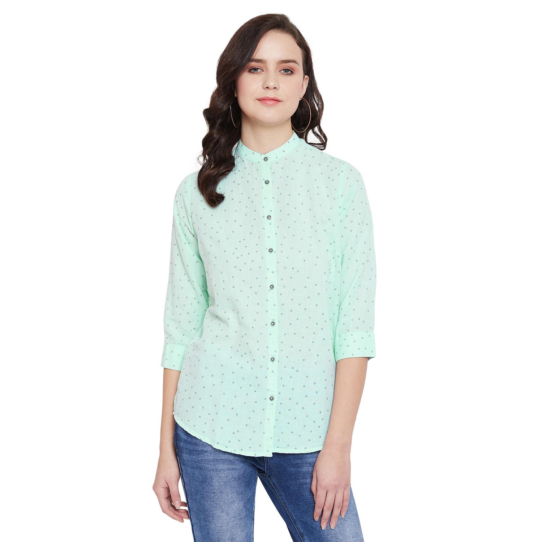 Crimsoune Club | Crimsoune Club Green Printed Womens Shirt