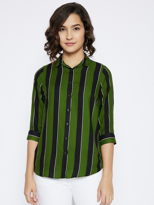 Crimsoune Club | Crimsoune Club Women's Green Striped Shirt