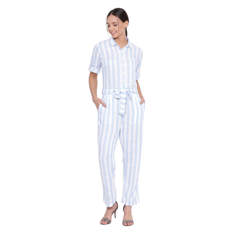 Crimsoune Club | Crimsoune Club Womens Blue Striped Jump suit