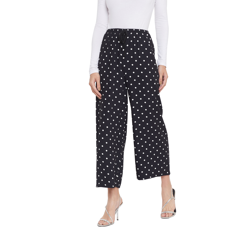 Crimsoune Club | Crimsoune Club Womens White Polka Dot Printed Parallel Trousers