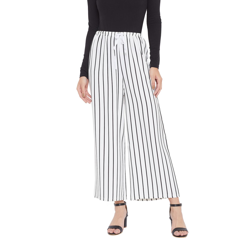 Crimsoune Club | Crimsoune Club Women's Striped White Parallel Trousers