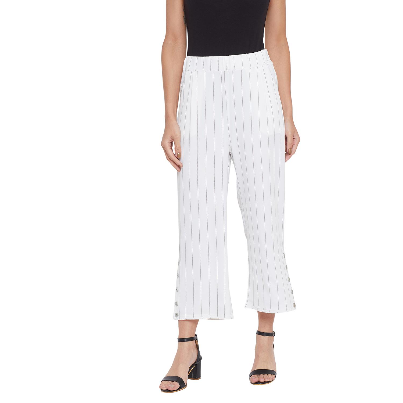 Crimsoune Club | Crimsoune Club Womens Whie Striped Parallel Trousers