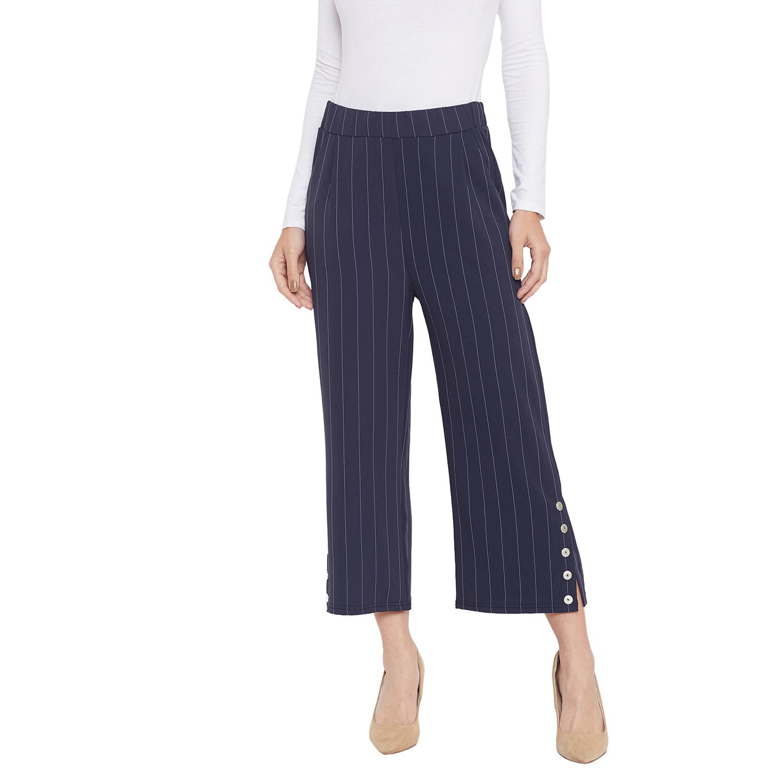 Crimsoune Club | Crimsoune Club Womens Navy Blue Striped Parallel Trousers