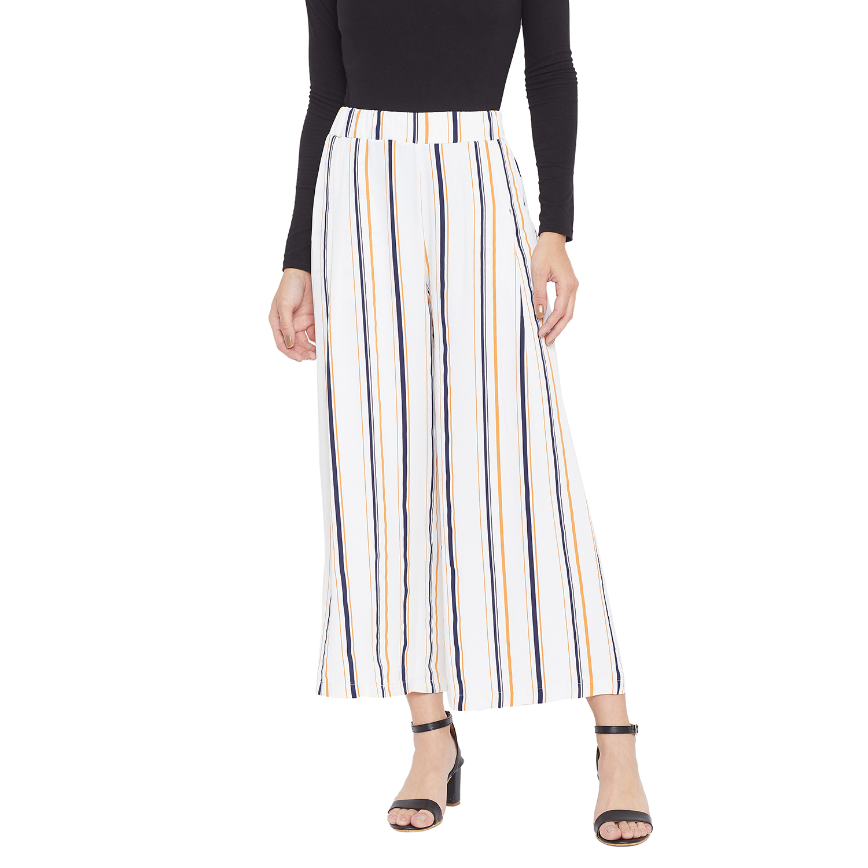 Crimsoune Club | Crimsoune Club Womens White Striped Parallel Trousers