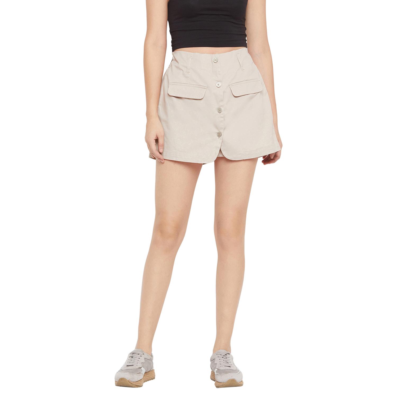Crimsoune Club | Crimsoune Club Women's Beige Solid Hot Pant
