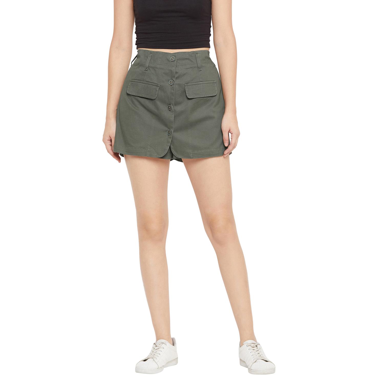 Crimsoune Club | Crimsoune Club Women's Olive Solid Hot Pant