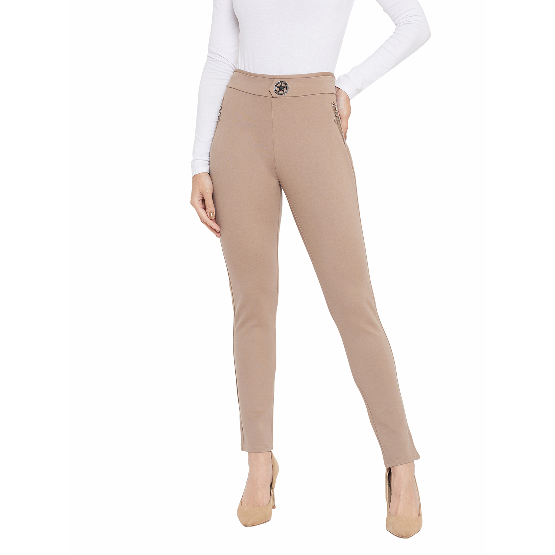 Crimsoune Club | Crimsoune Club Womens Beige Solid Cigarette Trousers