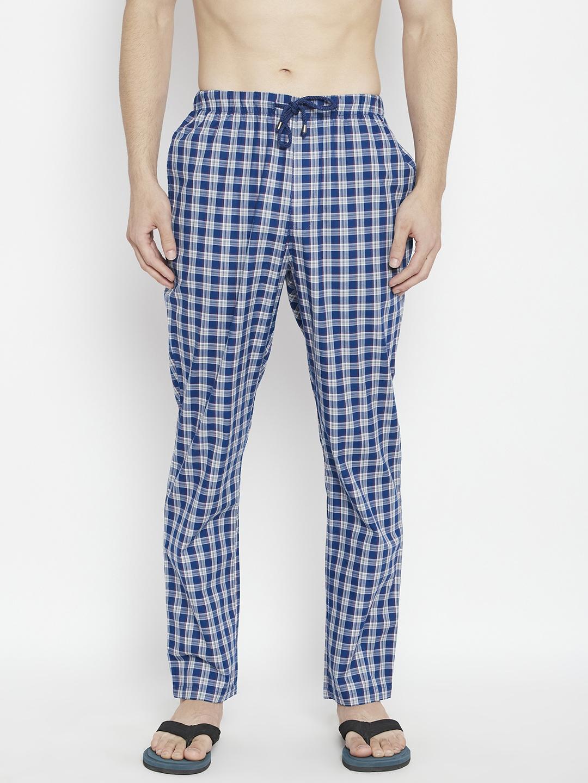 Crimsoune Club | Crimsoune Club Men's Blue Checked Smart Fit Lounge Pants