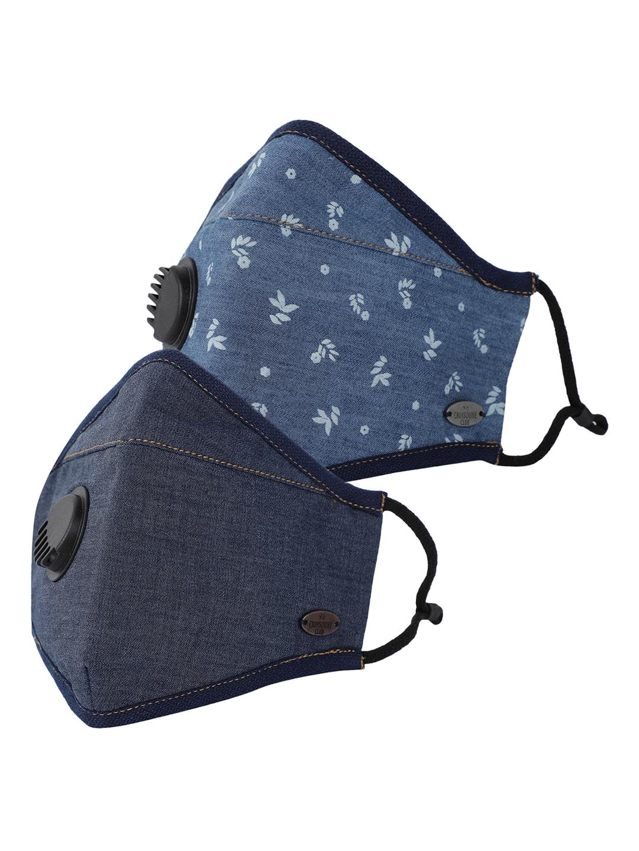 Crimsoune Club   Unisex Pack Of 2 Reusable Denim Valved Outdoor Mask