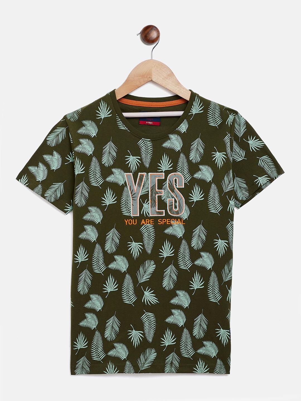 Crimsoune Club | Crimsoune Club Boy's Printed Olive T-shirt