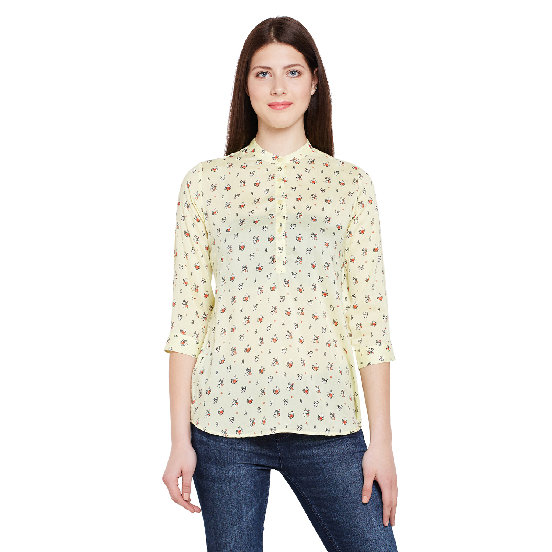 Crimsoune Club | Crimsoune Club Women's Printed Yellow Shirt