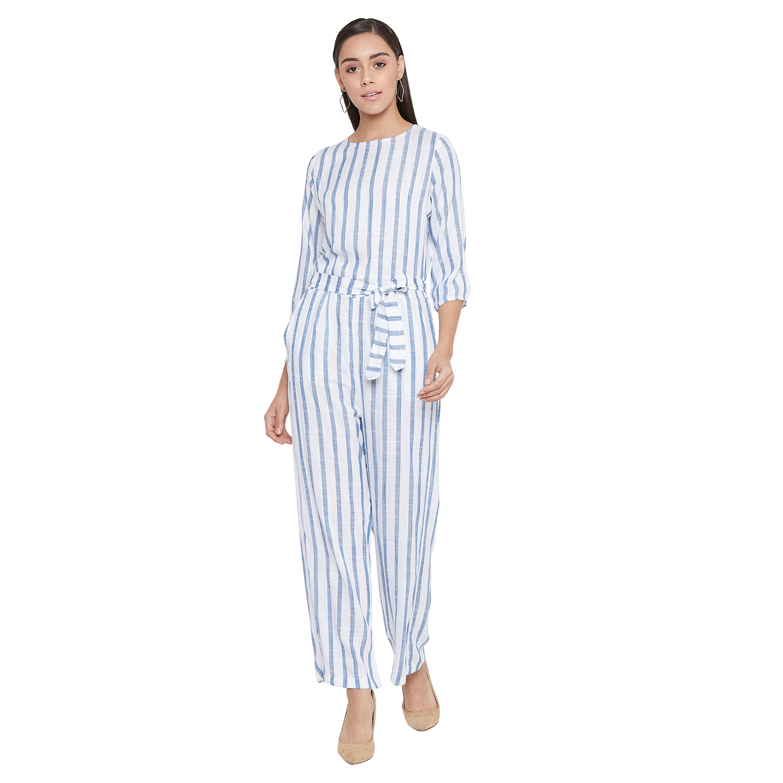 Crimsoune Club | Crimsoune Club Women's Blue Striped Jump Suit