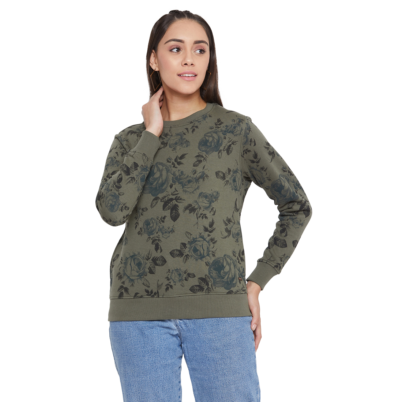 Crimsoune Club | Crimsoune Club Women's Olive Printed Sweat Shirt