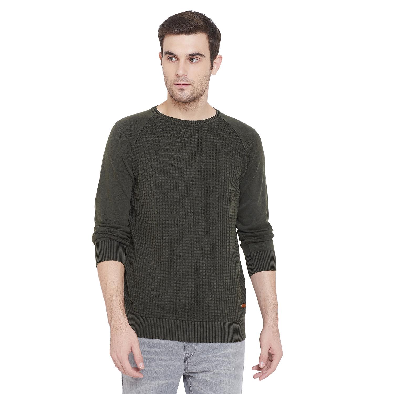Crimsoune Club | Crimsoune Club Mens Olive Self Design Sweater