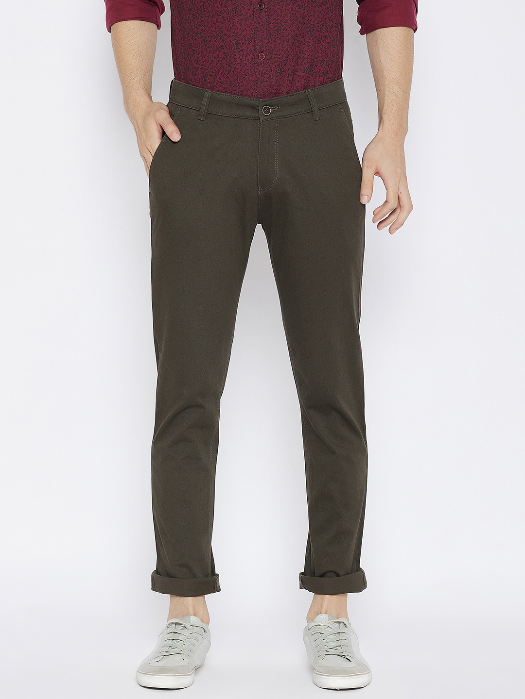 Crimsoune Club | Crimsoune Club Men's Olive Solid Slim Fit Trousers