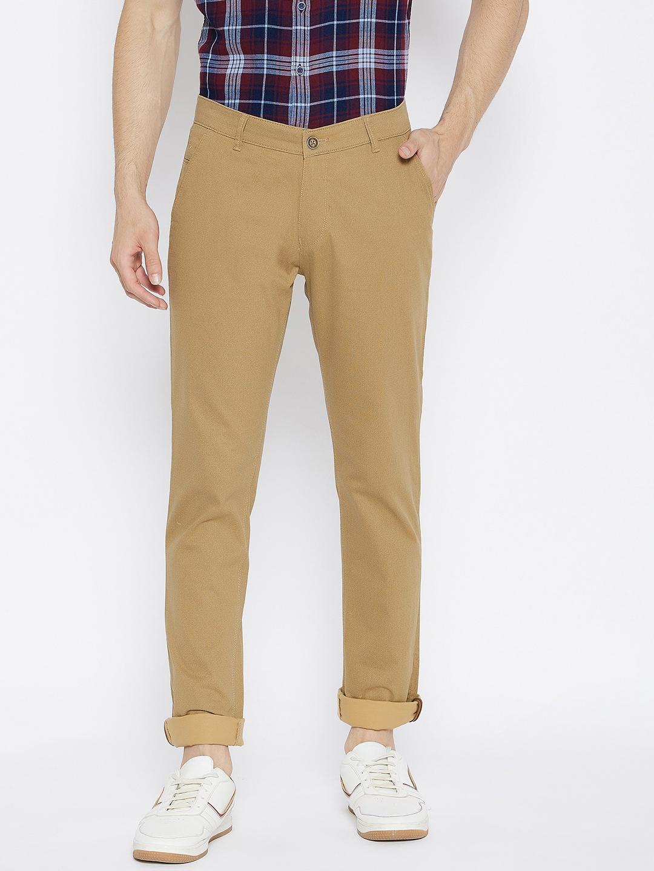 Crimsoune Club | Crimsoune Club Men's Khaki Printed Slim Fit Trousers