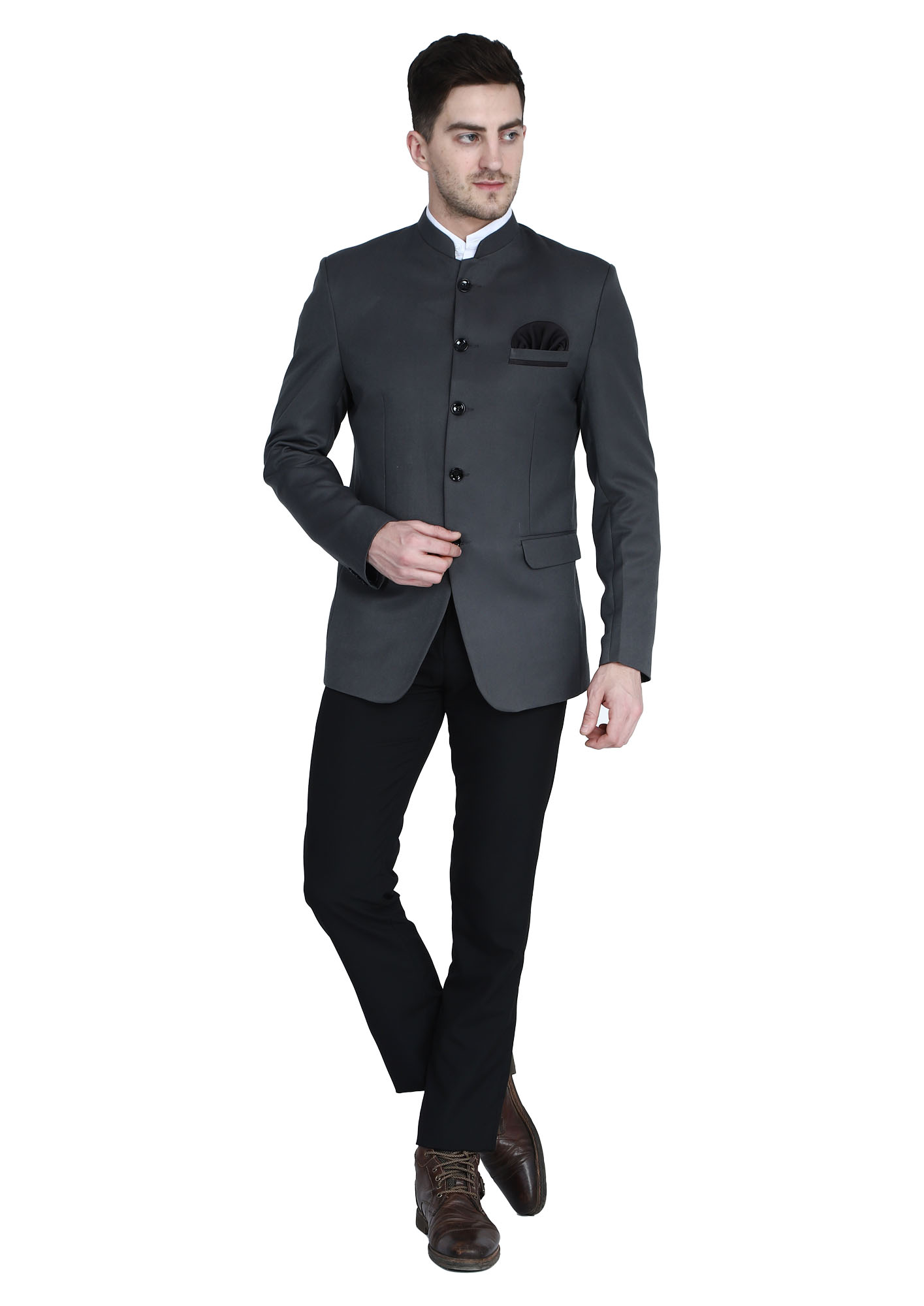 TAHVO | Grey Men Bandhgala Suit With Hanky