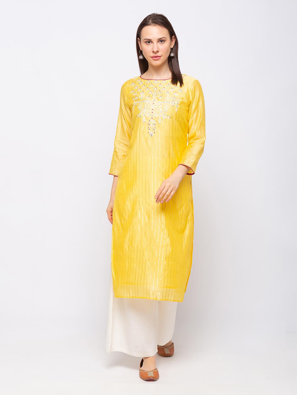 Ethnicity | Ethnicity Chanderi Silk Straight Women Yellow Kurta