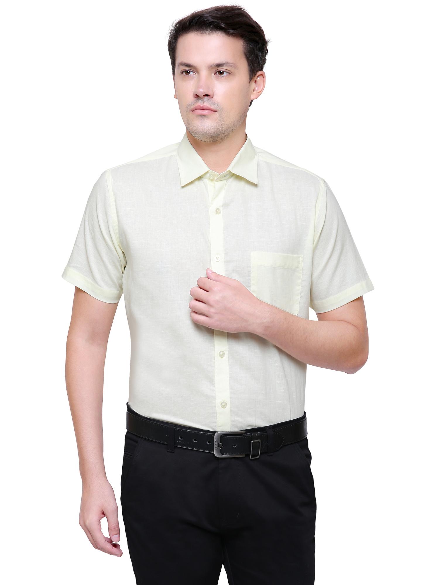 Southbay | Southbay Men's Light Yellow Half Sleeve Linen Cotton Formal Shirt-SBCLHS227YL