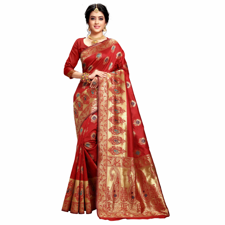 POONAM TEXTILE   Woven Design Banarasi Jacquard Silk Red Festive Saree