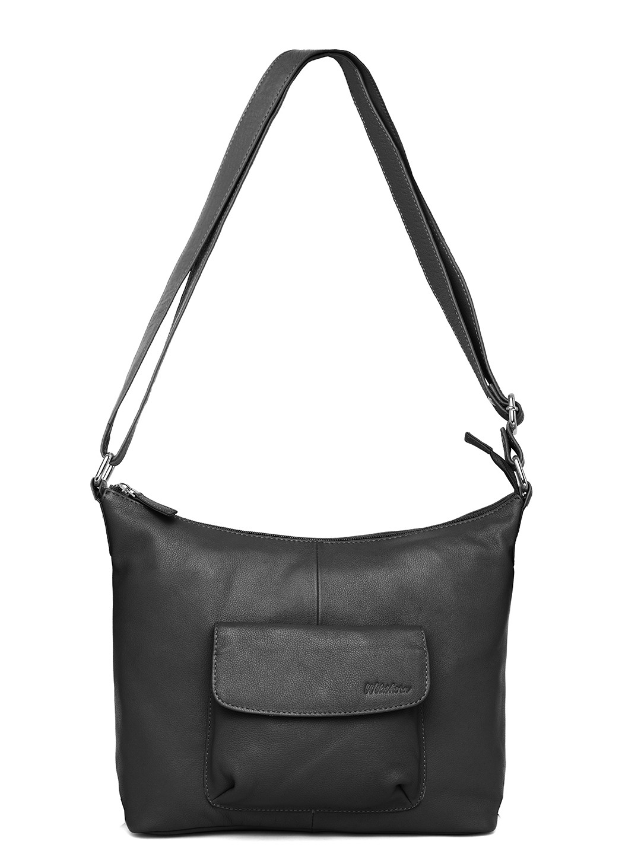 WildHorn | WildHorn Upper Grain Genuine Leather Ladies Tote, Sling, Shoulder, Hand Bag with Adjustable Strap - Black