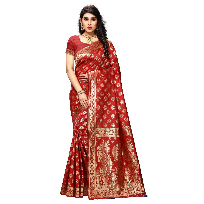 POONAM TEXTILE   Designer Women's Art Silk Red Woven Saree