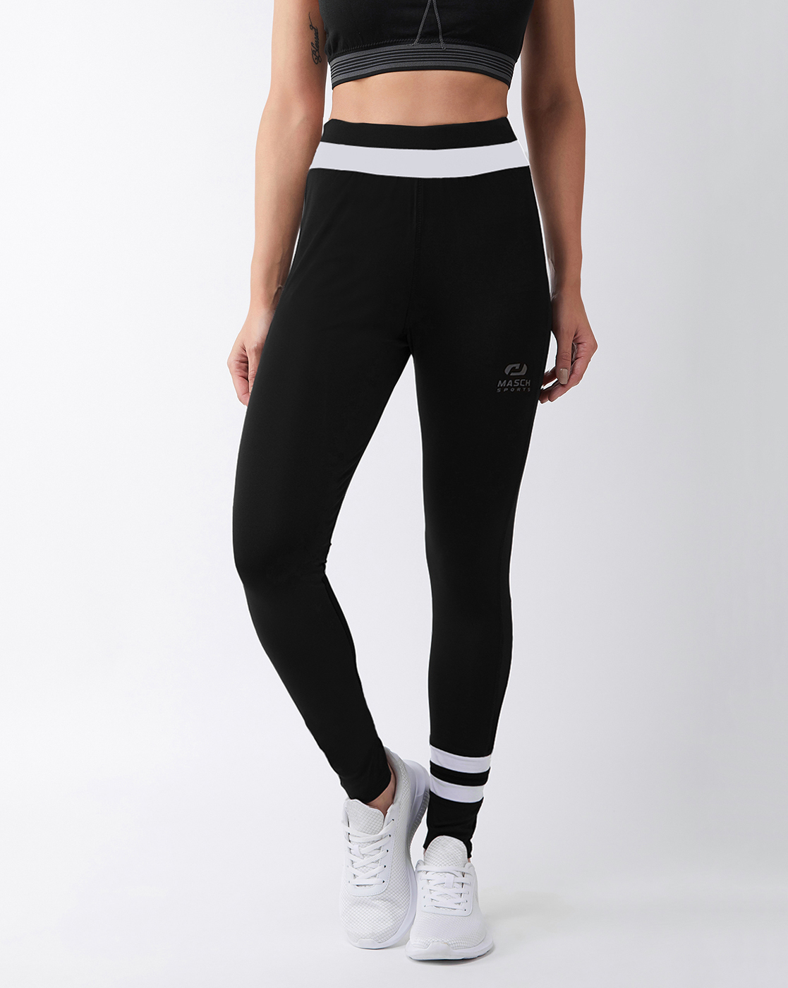 Masch Sports   Masch Sports Women's Black Solid Sports Tights with White Waistband and Ankle Stripe