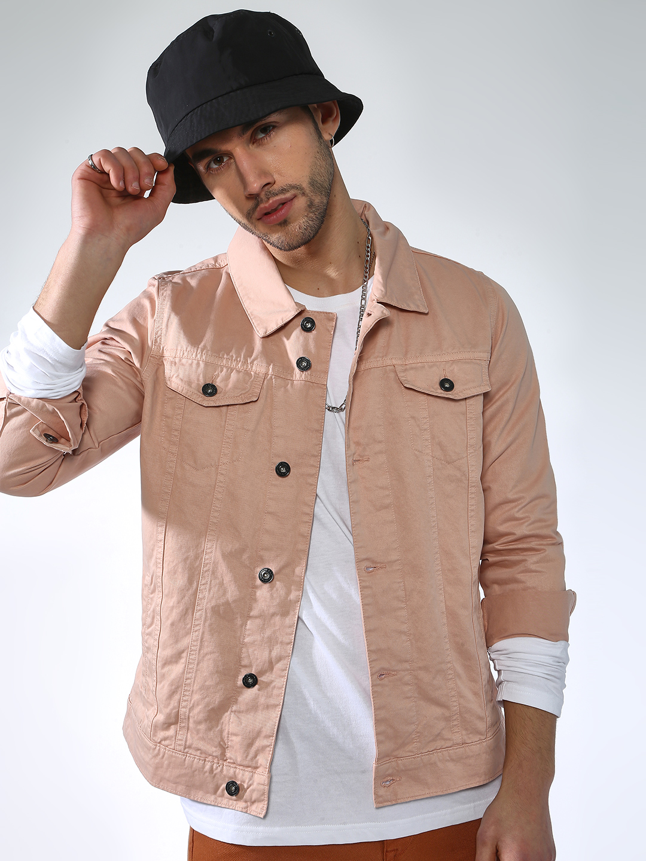 Blue Saint | Blue Saint Men's Pink Slim Fit Denim Jackets