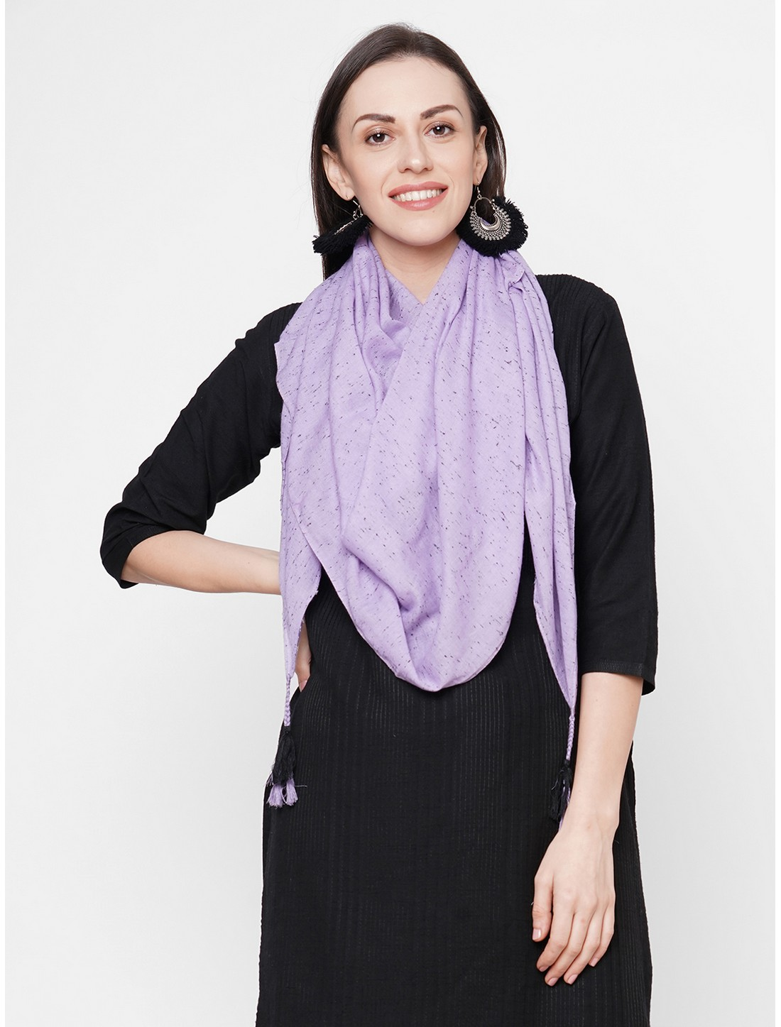 Get Wrapped   Get Wrapped Purple Viscose Rayon Self Design Scarf with Tasselled Border